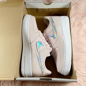 New Nike Womens Air Force 1 Barely Rose Iridescent
